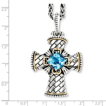Sterling Silver w/14k Swiss Blue Topaz Cross Necklace