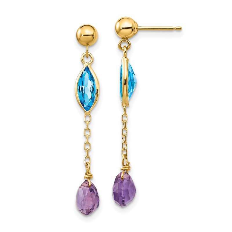 Quality Gold 14K Amethyst and Blue Topaz Post Earrings