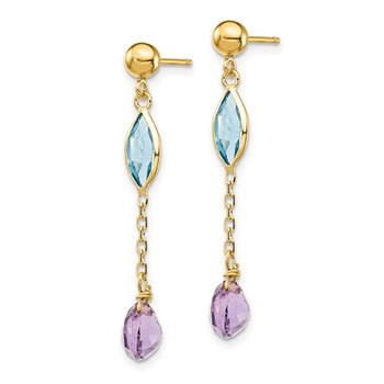 14K Amethyst and Blue Topaz Post Earrings