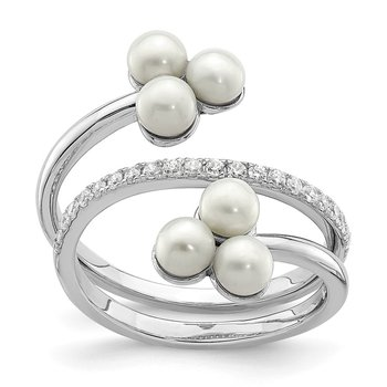 Sterling Silver Rhod-plat 3-4mm White Button FWC Pearl CZ Adj. Ring