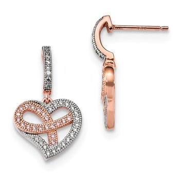 Sterling Silver Rose Gold-plated CZ Heart Polished Dangle Post Earrings