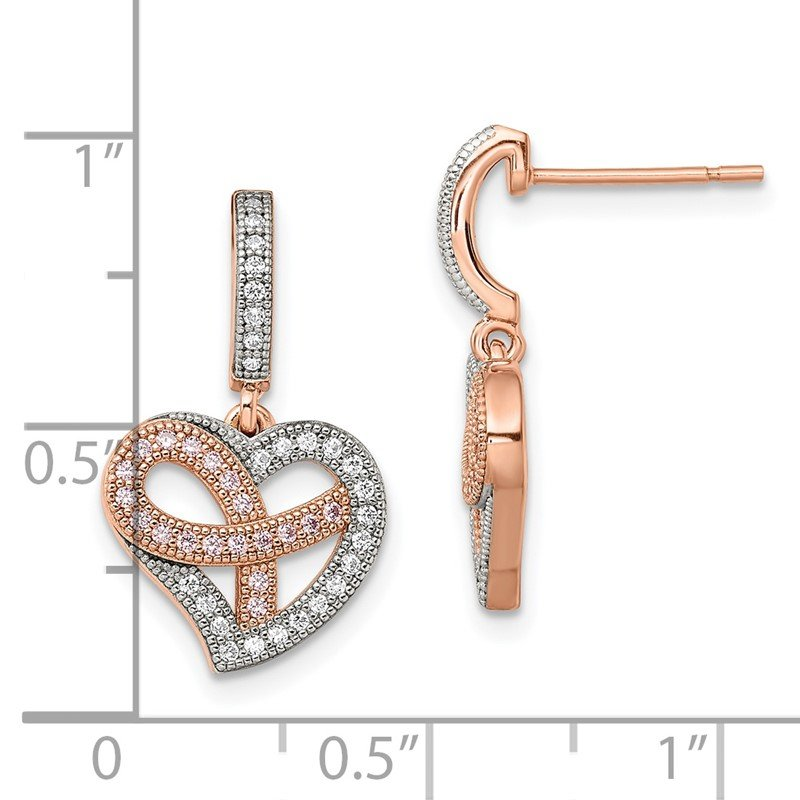 Quality Gold SS Rose Gold-Plated CZ Heart Dangle Post Earrings