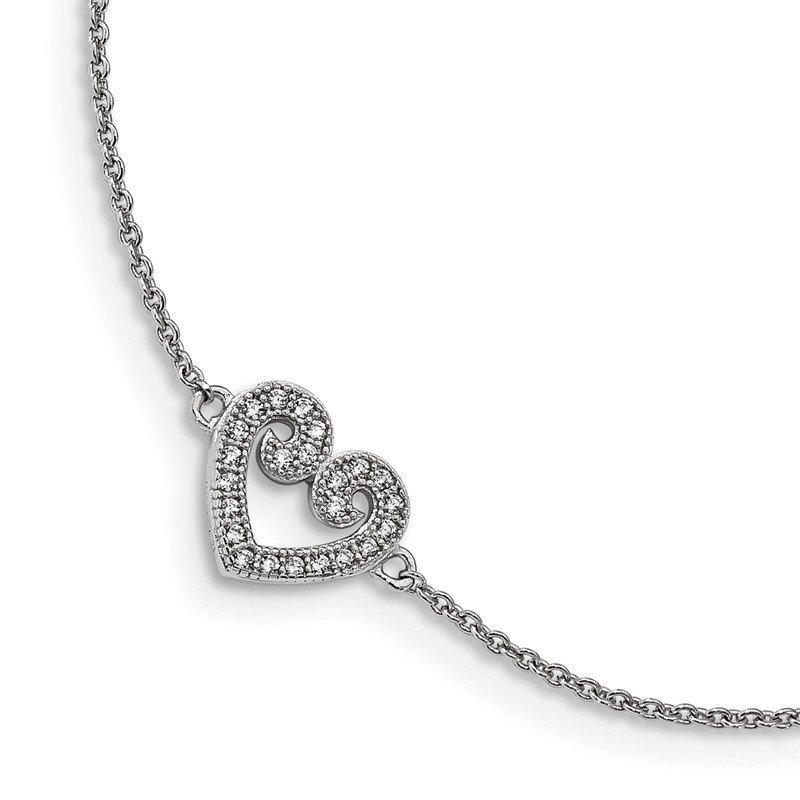 Quality Gold Sterling Silver & CZ Brilliant Embers Polished Heart Anklet w/1in Ext