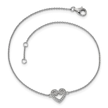 SS Rhodium-Plated CZ Brilliant Embers Heart Anklet w/1in Ext.