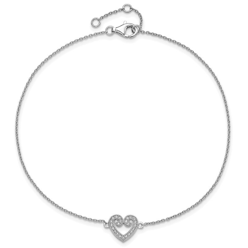 Quality Gold SS Rhodium-Plated CZ Brilliant Embers Heart Anklet w/1in Ext.