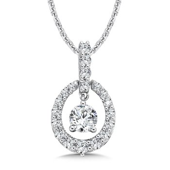 Diamond Oval Pendant with Diamond Bale in 14K White Gold (1/2ct. tw.)