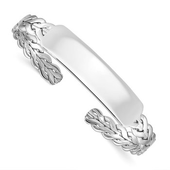 Sterling Silver Rhodium-plated with ID Plate Bangle
