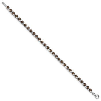Sterling Silver Rhodium-plated Smoky Quartz and Diamond Bracelet