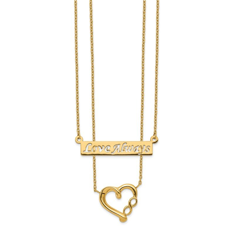 Quality Gold 14k Two-Strand Polished Love Always Heart Necklace