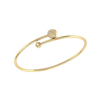 Moon-Crossed Lovers Bangle in 14 KT Yellow Gold Vermeil on Sterling Silver