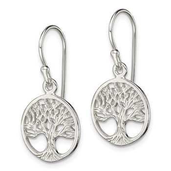 Sterling Silver Polished Filigree Tree Dangle Earrings