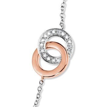 Sterling Silver Diamond and 14K Rose Gold Intertwining Loop Bracelet