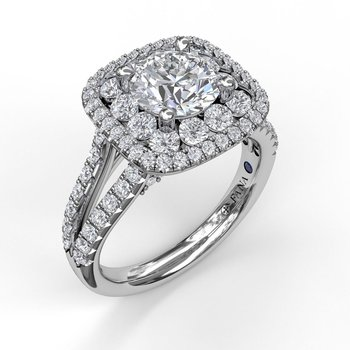 Exquisite Unique Double Halo Engagement Ring