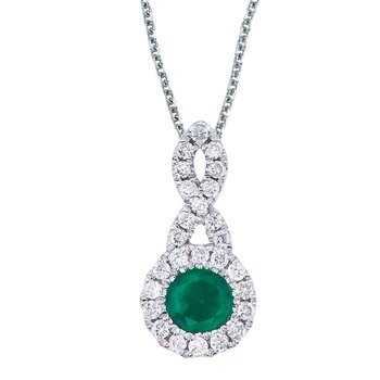 14k White Gold 4 mm Emerald and .14 ct Diamond Swirl Pendant