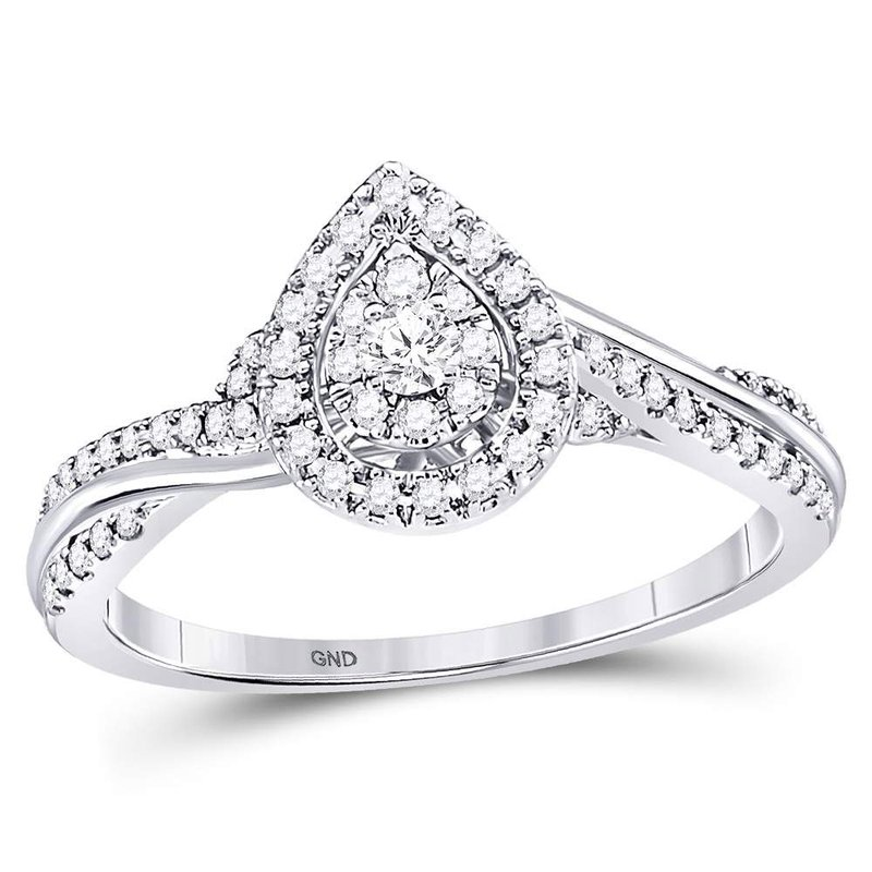 Kingdom Treasures 14kt White Gold Womens Round Diamond Teardrop Cluster Bridal Wedding Engagement Ring 1/4 Cttw