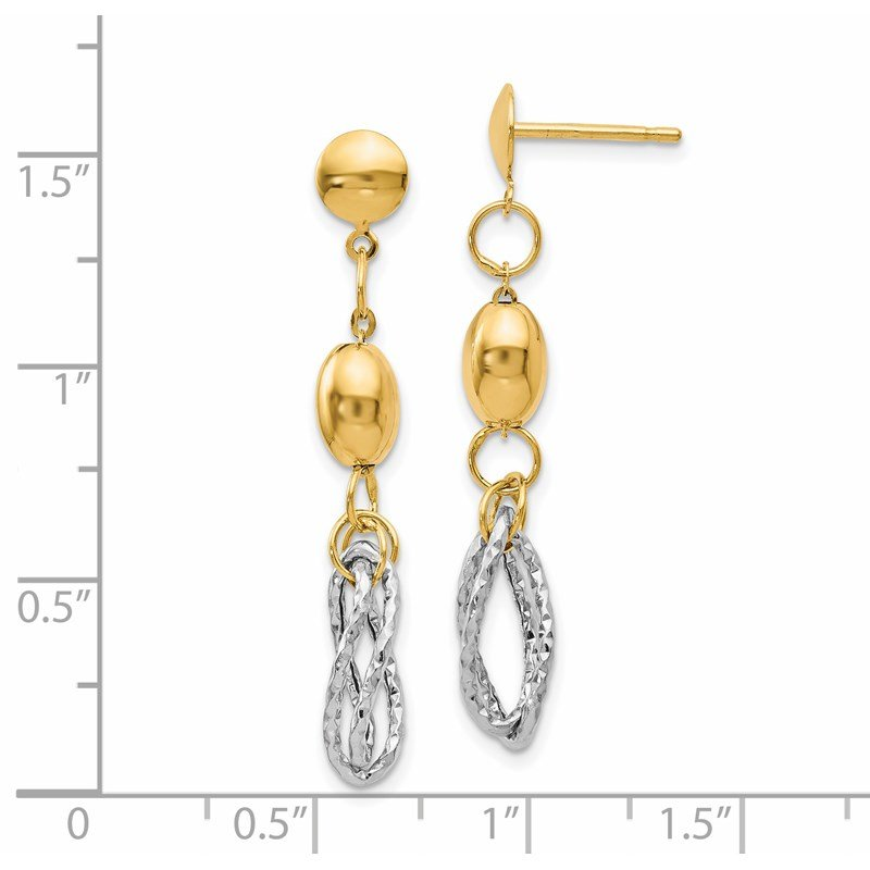 Leslie's Leslie's 14K Two-tone Polished and Textured Post Dangle Earrings