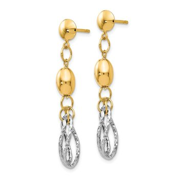 Leslie's 14K Two-tone Polished and Textured Post Dangle Earrings