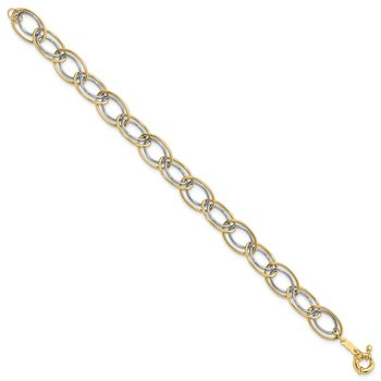 14k Two Tone Fancy Oval Link Bracelet