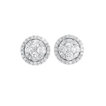 Diamond Round Halo Cluster Stud Earrings in 14k White Gold (½ ctw)