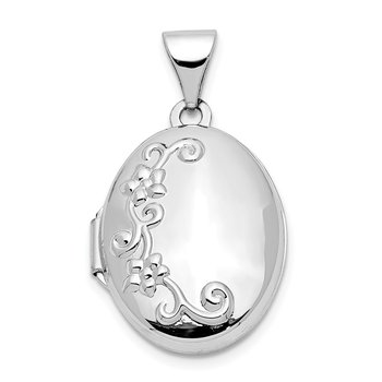 14k White Gold Floral Oval Locket