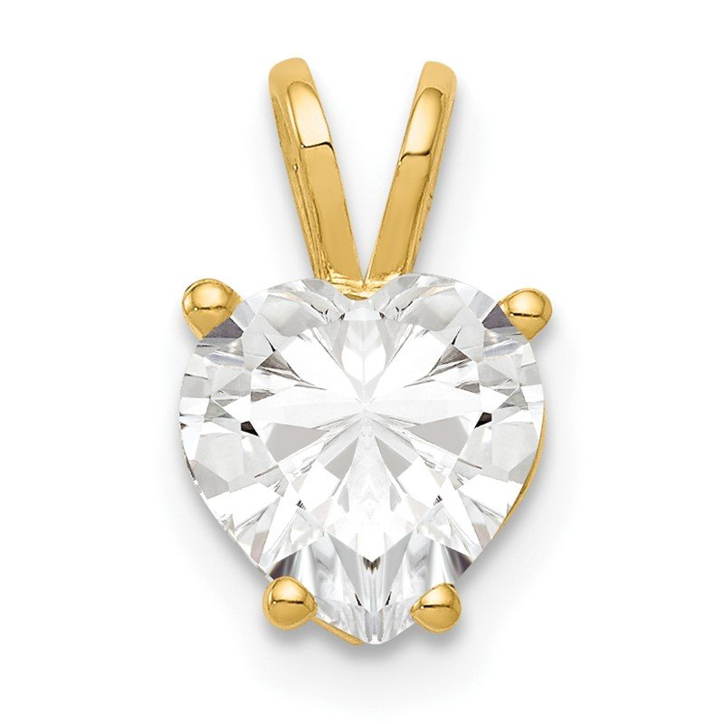 Quality Gold 14k 7mm Heart Cubic Zirconia pendant
