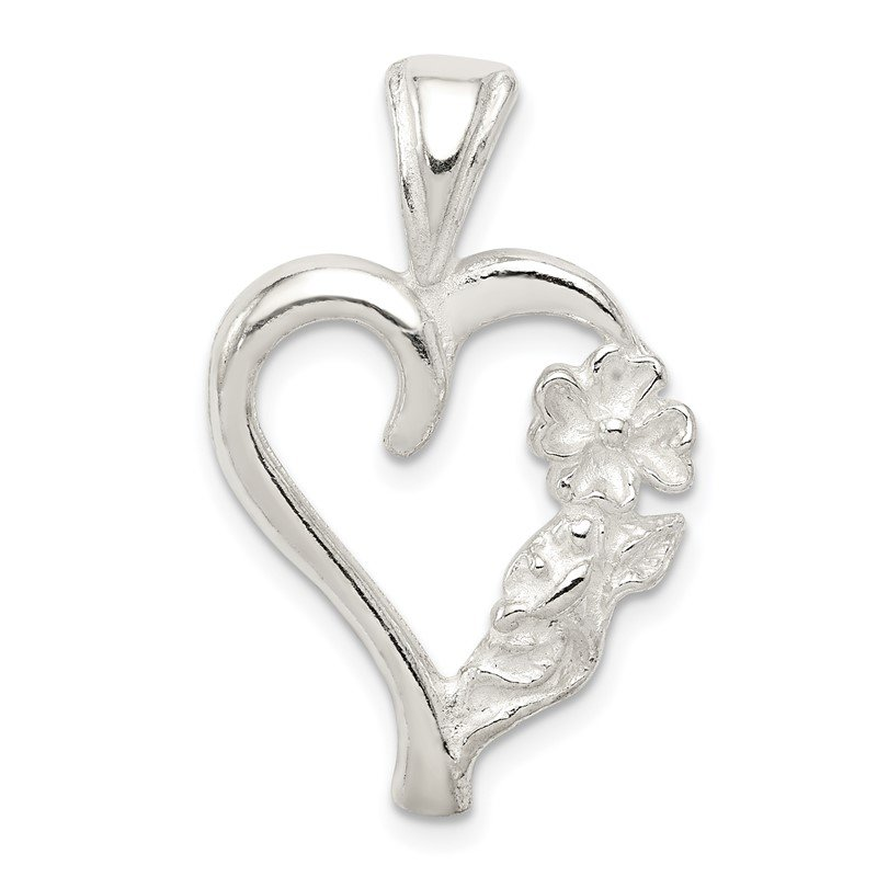 Quality Gold Sterling Silver Fancy Heart Charm