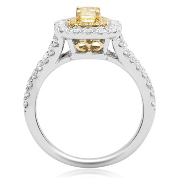 Yellow & White Diamond Double Halo Ring