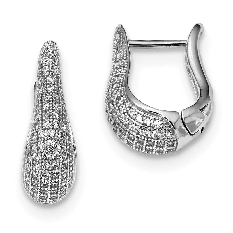 Arizona Diamond Center Collection Sterling Silver & CZ Brilliant Embers Polished Hinged Hoop Earrings