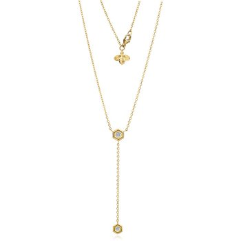 "Honeybee ""B"" Diamond Honeycomb Motif Lariat Necklace N375G"