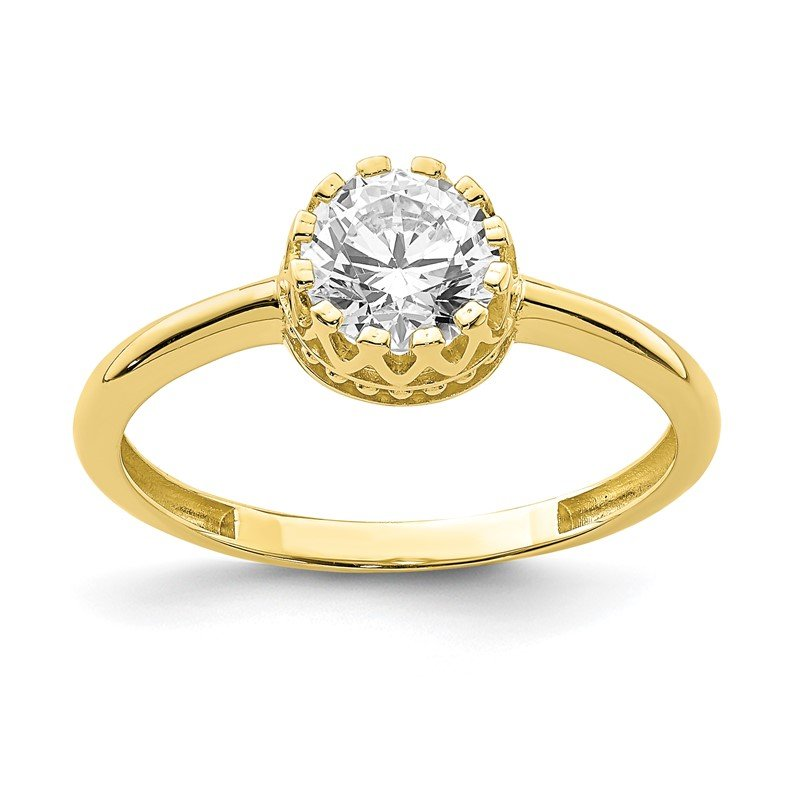 Quality Gold 10k Tiara Collection Polished CZ Ring