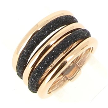 5 Band Polvere Di Sogni Combo Ring - Black Polvere & Rose Gold