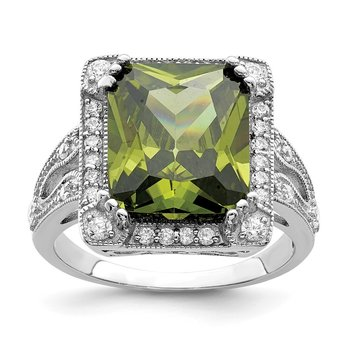 Sterling Silver Rhodium-plated Green & Clear CZ Ring