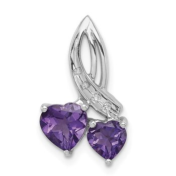 Sterling Silver Rhodium Plated Dia. Amethyst Double Heart Chain Slide