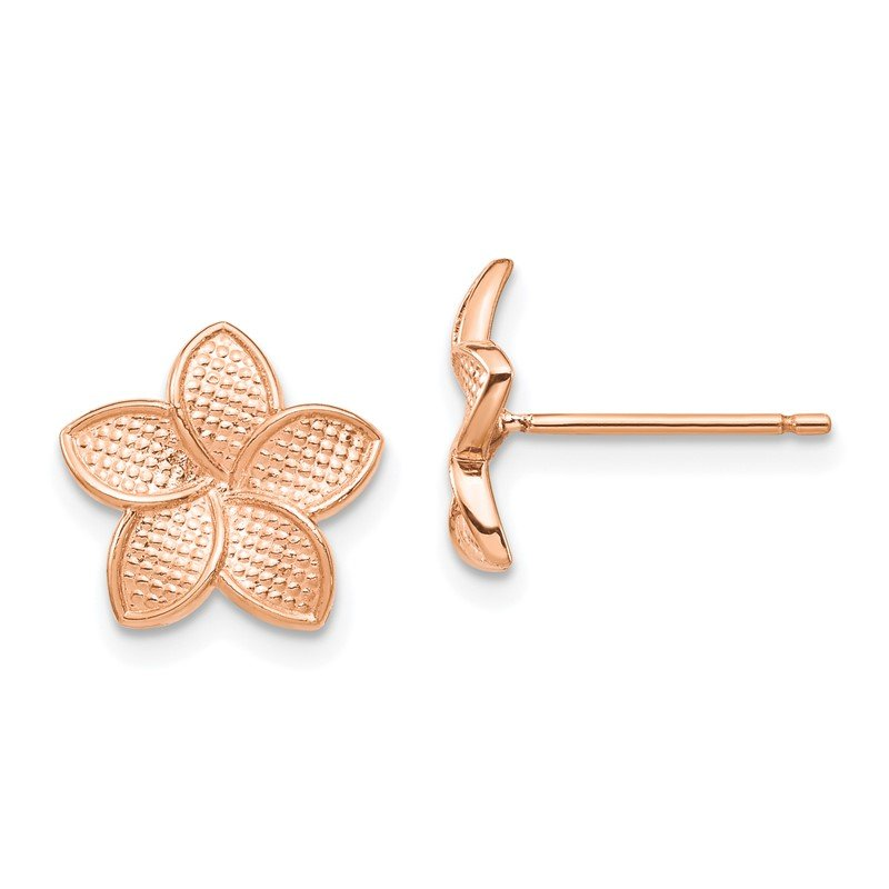 Quality Gold 14K Rose Polished & Textured Plumeria Post Earrings