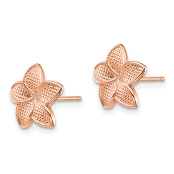 14K Rose Gold Polished & Textured Plumeria & Yellow Post & Earring Backs