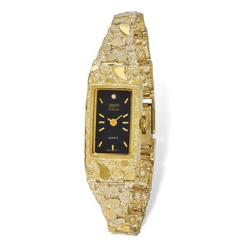 10k Black 15x31mm Dial Rectangular Face Nugget Watch