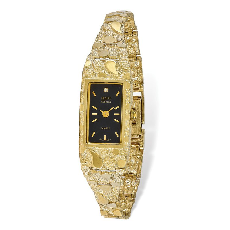 Quality Gold 10k Black 15x31mm Dial Rectangular Face Nugget Watch