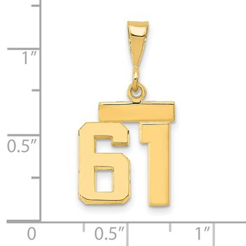 14k Small Polished Number 61 Charm