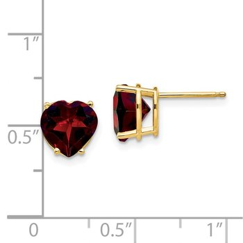 14k 8mm Heart Garnet earring
