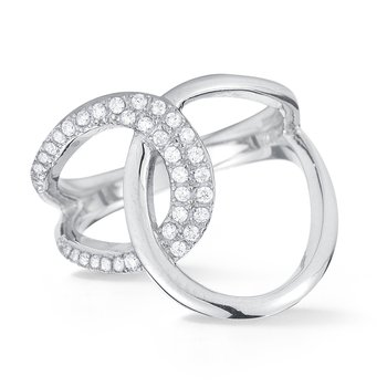 14K double loop ring 36 diamonds 0.32C