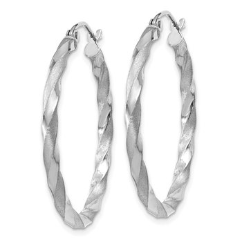 14k White Gold Polished & Satin Twisted Hoop Earrings