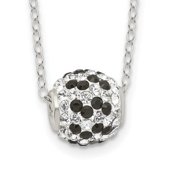 Sterling Silver Black and White Stellux Crystal Necklace
