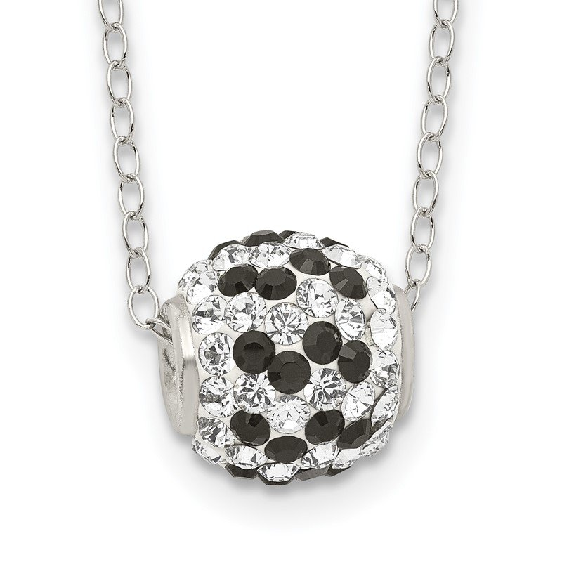 Quality Gold Sterling Silver Black and White Stellux Crystal Necklace