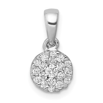 14k White Gold 1/4ct. Diamond Circle Cluster Pendant
