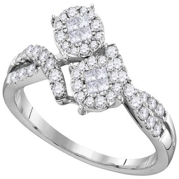 14kt White Gold Womens Princess Round Diamond Soleil Cluster Bypass Bridal Wedding Engagement Ring 1/2 Cttw