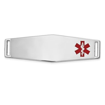14K WG Epoxy Enameled Medical ID Off Ctr Soft Diamond Shape Plate # 820