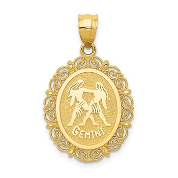 14k Solid Satin Polished Gemini Zodiac Oval Pendant