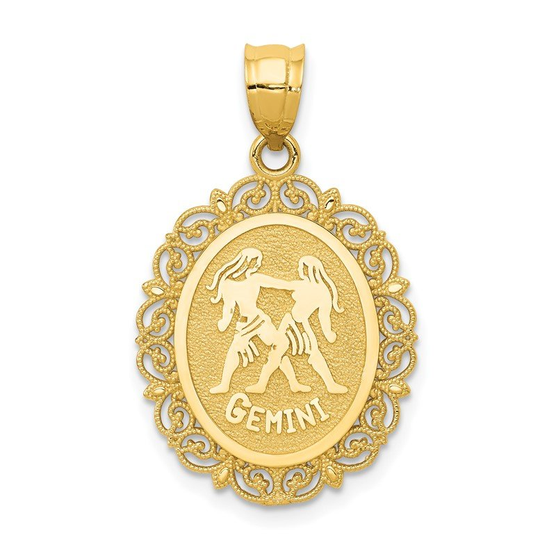 Quality Gold 14k Solid Satin Polished Gemini Zodiac Oval Pendant