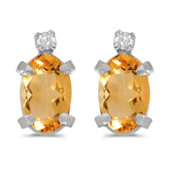 Sterling Silver Oval Citrine and Diamond Earrings