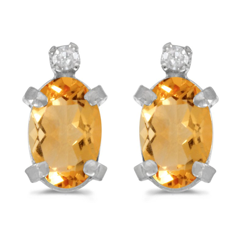 Color Merchants Sterling Silver Oval Citrine and Diamond Earrings